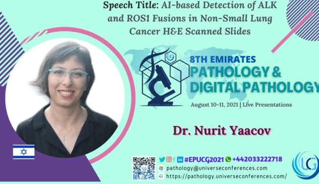 Dr. Nurit Yaacov presenting at the 8th Emirates Pathology & Digital Pathology on August 10-11, 2021